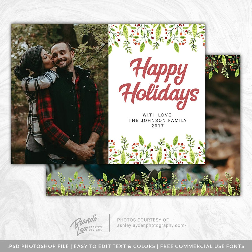 Happy Holidays Christmas Card Psd Template Holiday Photo Etsy