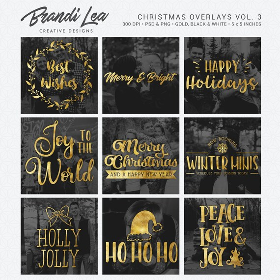 Christmas Photography Overlays Vol 3 Word Art Photo Quotes Etsy