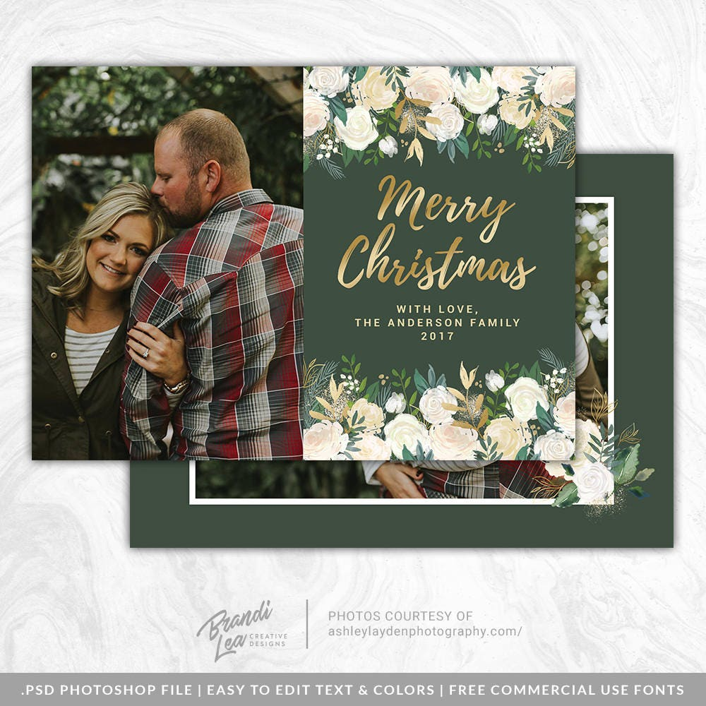 Merry Christmas Card Psd Template Holiday Photo Card Etsy