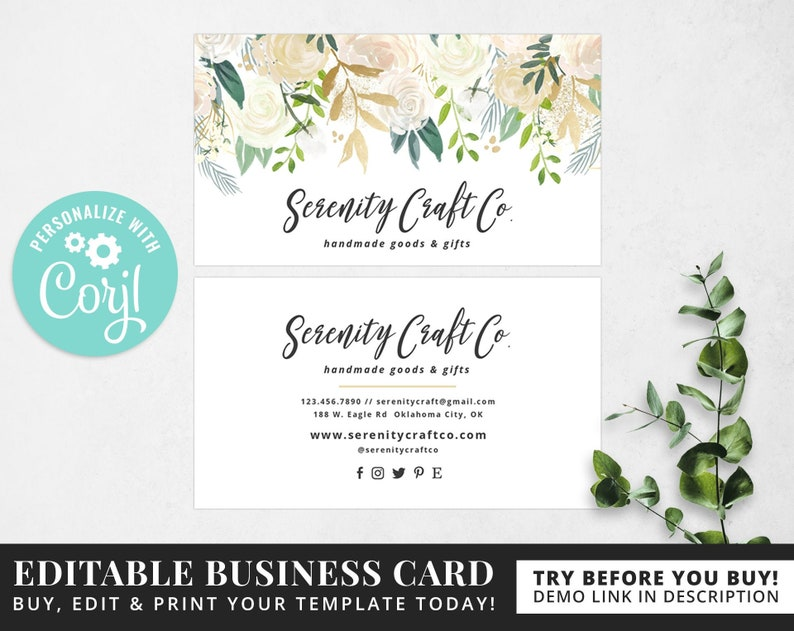 Editable Business Card Template Corjl Template Instant Download Edit Online Diy Template Calling Card Business Card Design Bc007