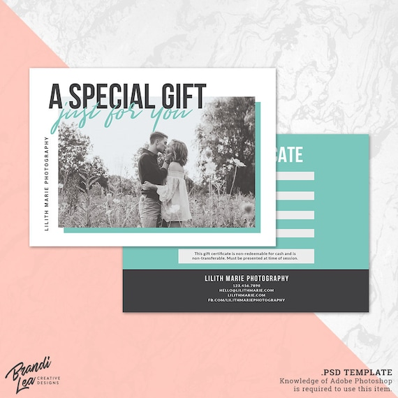 photography gift certificate template photoshop gift card etsy