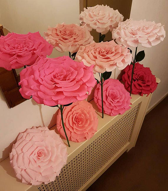 Set Of 6 Giant Paper Flowers Giant Paper Flowers Boho Etsy