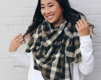 Multicolor Plaid Blanket Scarf Fringe Shawl Wrap Green