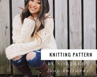 Knitting Pattern / Cable Knit Sweater/ Beginner Easy Jumper