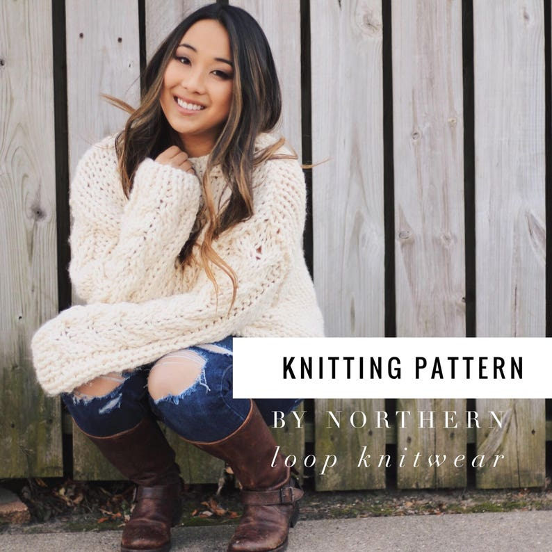 Knitting Pattern / Cable Knit Sweater/ Beginner Easy Jumper image 0