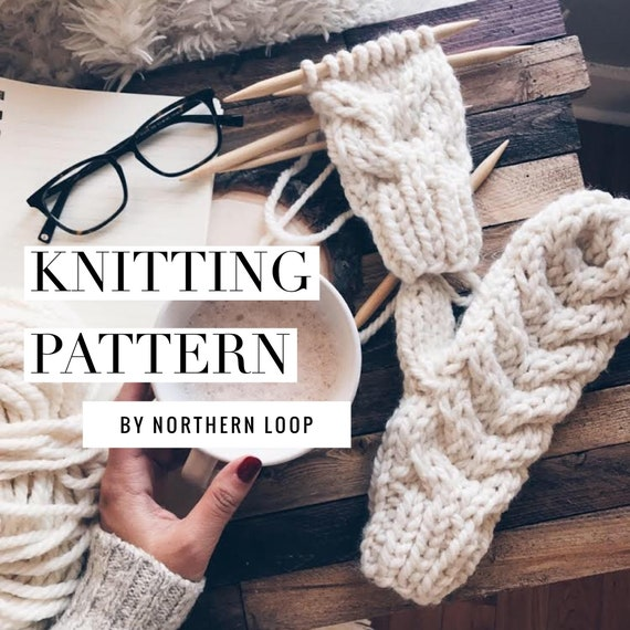 Knitting Pattern Super Chunky Easy Cable Knit Mittens For Etsy