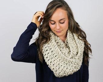 Super Chunky Crochet Infinity Scarf   Oatmeal