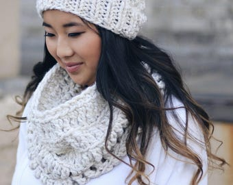 Hooded Knit Infinity Cowl Scarf