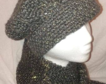 Smoke Grey Hat and Scarf