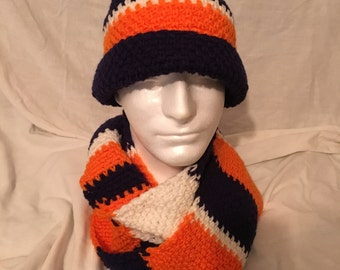 Navy Blue, White and Orange Men's Hat and Scarf