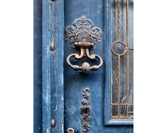 Blue Door Art Print, Home Decor Print Of French Door, Indigo Blue Art,  Guest Room Decor