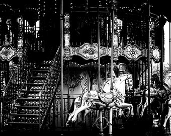 Paris Carousel Print, Wall Art Black & White Paris Photography for Bedroom Decor, Carnival Photo Print, Paris Art Print, Merry Go Round