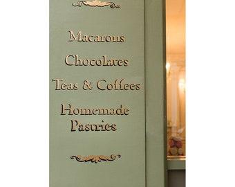 Paris Wall Art Laduree Shop Sign Paris Photography Prints, Sage & Gold Wall Decor for Kitchen or Dining Room