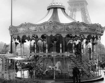 Paris Carousel Print, Living Room Decor, Wall Art Black & White Photography, Carnival Photo Print, Paris Art Print, Merry Go Round Picture