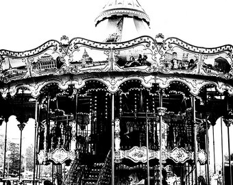 Paris Photography Carousel Print, Wall Art in Black & White Bedroom Decor, Carnival Photo Print, Paris Art Print, Merry Go Round
