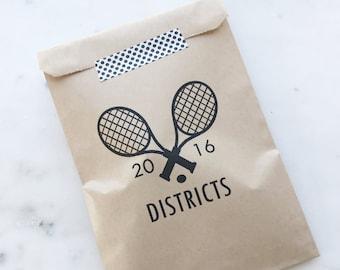 Birthday Party Favor Bags! - Tennis - Favor Bags - Custom Printed on Kraft Brown Paper Bags