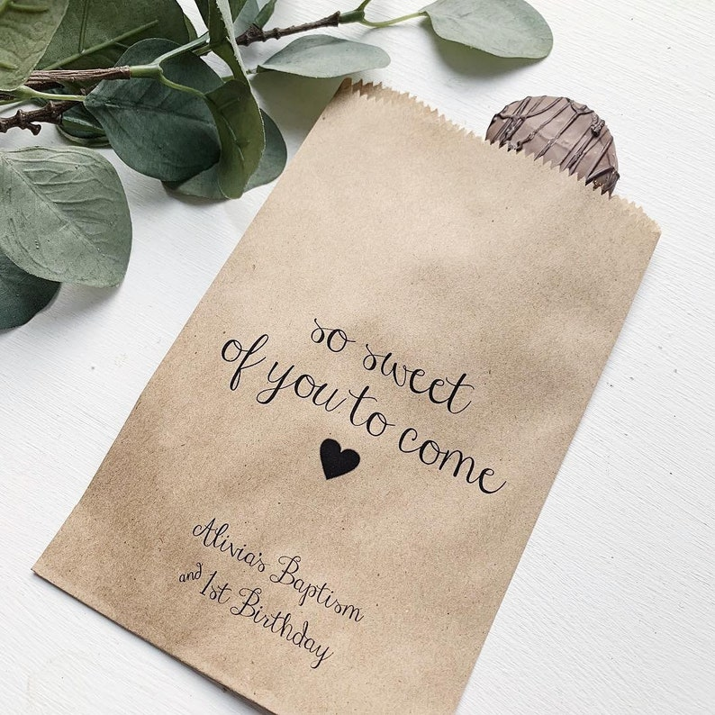 Party Favor Bags! Custom Printed on Kraft Brown Paper Bags Favor Bags so sweet of you to come
