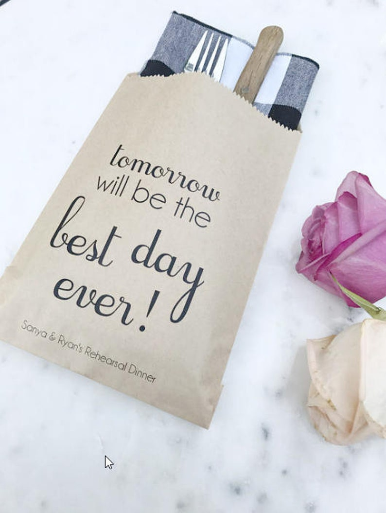 Rehearsal Dinner Bags  Tomorrow will be the Best Day Ever  image 0