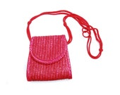 Vintage basket bag, plain red woven wood straw envelope handbag with shoulder strap, tiny straw handbag case, 1980s beach fashion accessory