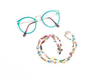 Thin RandomJane short glasses chain colorful beaded hippie boho random style summer accessory for kids, eye and sun glasses made in Vienna