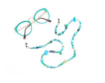 RandomJane short glasses chain colorful blue green beaded hippie boho random summer fashion accessory gift, eye sun glasses made in Vienna