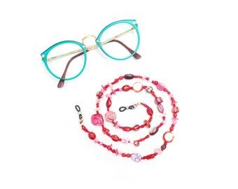 RandomJane short glasses chain colorful red pink beaded hippie boho random style summer fashion accessory eye sun glasses made in Vienna