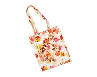 Handmade shopping tote bag, pink red orange flower pattern shopper, vintage mixed fabric, eco friendly fashion accessory bag made in Austria