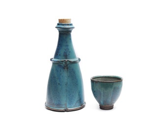 Vintage stoneware vessel and cup, mate blue green stone drip glaze flask bottle vase cork and ornaments, 1950s rustic shabby home decoration