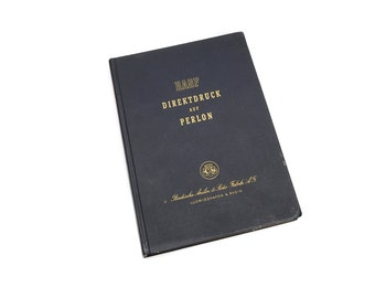 Vintage BASF Perlon sample book, Badische Anilin und Soda Fabrik book, collectors gift book perlon fabric prints, 1950s Germany Ludwigshafen