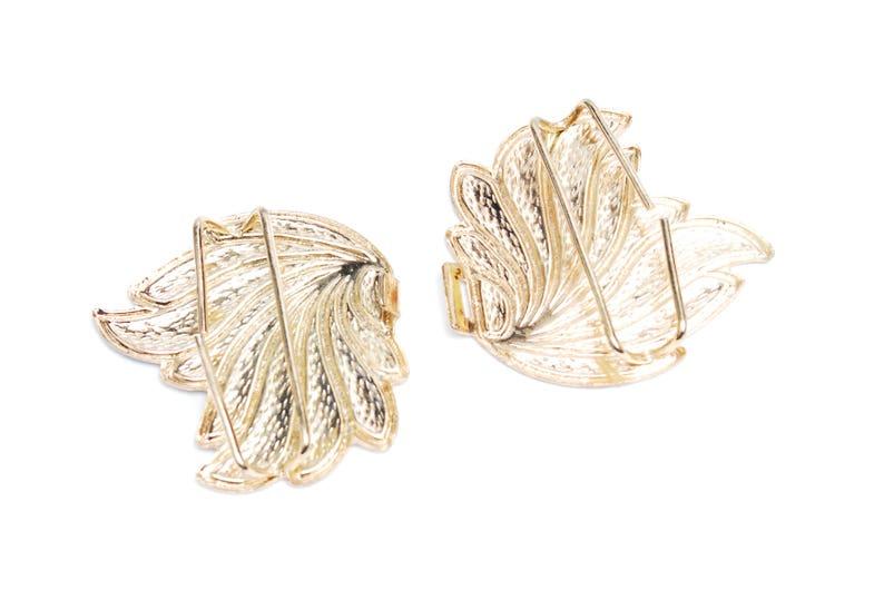 1970s dark blue beige gold leaf feather shaped metal enamel buckle DiY crafting Vintage belt making parts women/'s fashion accessory gift