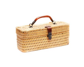 Vintage woven wood wicker rattan basket case, tiny brown storage suitcase box, leather applications, handle and filigree metal clasp, 1950s