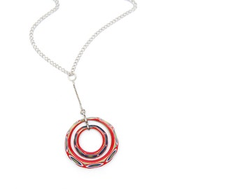 Short silver colored necklace with extraordinary red vintage millefiori murano glass circles pendant, unique gift, 1960s women's accessory