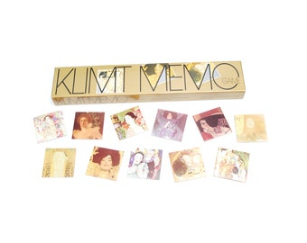 Vintage Klimt memory game, artful memo table game with box, 36 pairs, party night gift, collectible Piatnik Nr. 7081, 1990s made in Austria