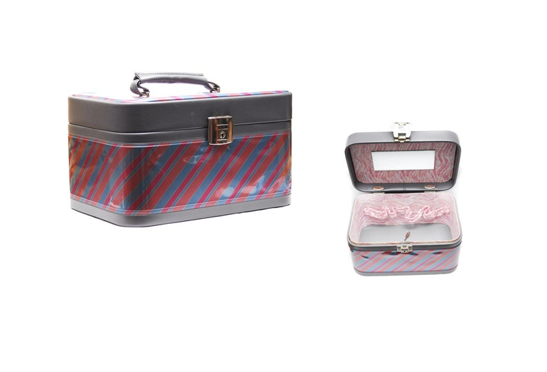 1970s grey pink orange blue striped pastel leather imitation luggage bag with mirror Vintage vanity train case slip sections and key