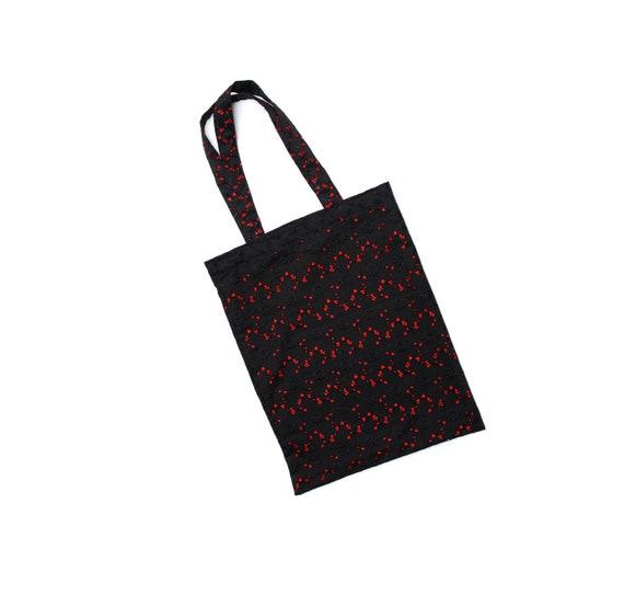 757b6cd024 Handmade shopping tote bag black flower pattern shopper red