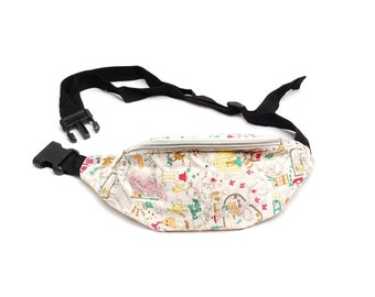 Vintage fanny pack, beige red green cotton fabric, artful doodle illustration, festival hip bag accessory, strap, 1990s unisex fashion gift