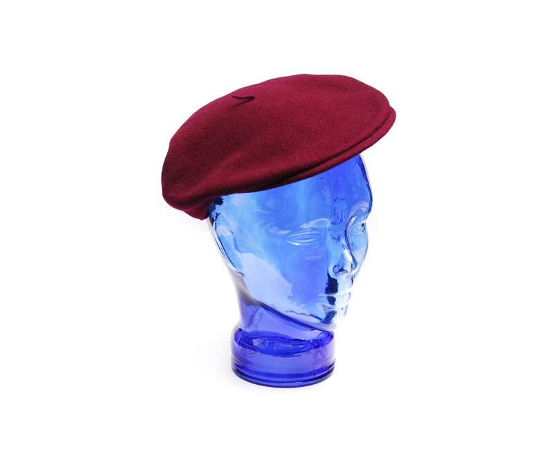 1b26a7a2a501b Vintage Kangol Modelaine beret cap dark magenta red plain