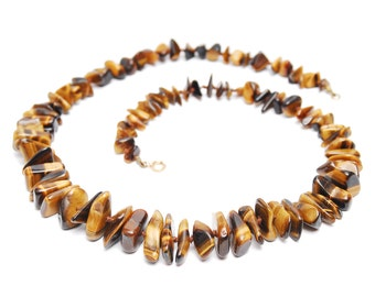 Vintage tigers eye necklace, brown shimmering semi precious beaded stone nugget necklace with clasp, 1960s women's fashion accessory gift