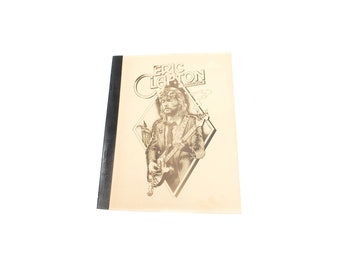 Vintage Eric Clapton songbook, collectible softcover music book, black white illustration cover, Retro lyrics booklet, 1970s rock music gift