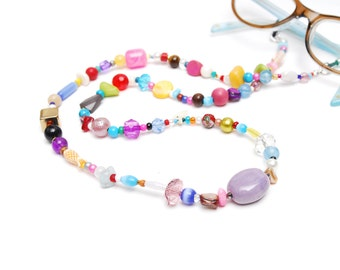 RandomJane short glasses chain colorful beaded hippie boho random style summer accessory for kids, eye and sun glasses made in Vienna