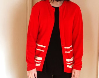 Vintage Red and White Cardigan Women's M/L