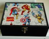 Marvel SuperHeroes Storage Box Avengers Trinket box Keepsake box Superhero Wooden Box Marvel Avengers Decorative box Thor Captain America