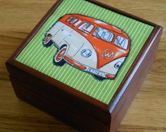 VW Campervan gift/box/wooden/ varnished /keepsake/jewellery/trinket/storage box