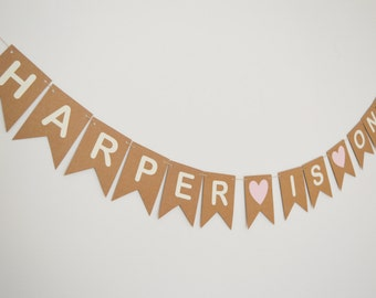 First Birthday Bunting , Personalised Name 1st Birthday Decorations, Pink Heart Banner Children's Decor Custom Name Banner Boy's decoration