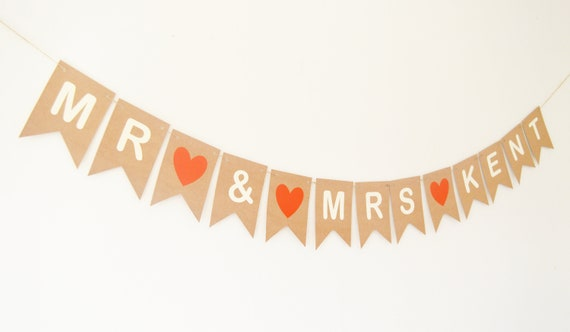 MR /& MRS Cake Topper Bunting HANGING WOODEN HEARTS Personalised MR AND MRS