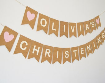 Personalised Christening Decorations, Baptism Banner, Bunting, New Baby, Baby Girl, Baby Boy Custom Decoration