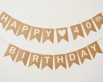 40th Forty Birthday Decorations Banner Bunting Party Decor 30th 50th 60th Any Age