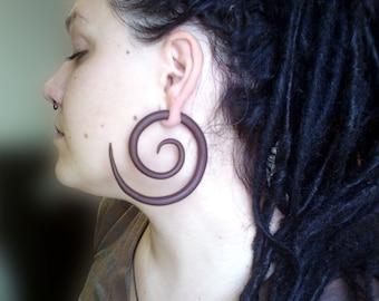 Large Spiral Earrings For Stretched Lobes