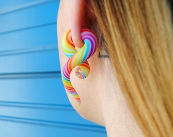 Colorful sterling silver stud earrings for african tribal women and girls rainbow candy colorful stud spiral ear gauges tribal fake plugs