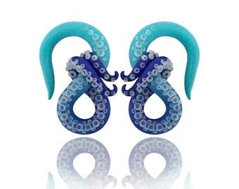 """Deep Blue Sea Kraken Octopus Tentacle Gauges - Fake, 4g, 2g, 0g, 00g, 7/16"""", 1/2"""", 9/16"""", 5/8"""" - Octopus Earrings -  Ocean Gauge - Water"""